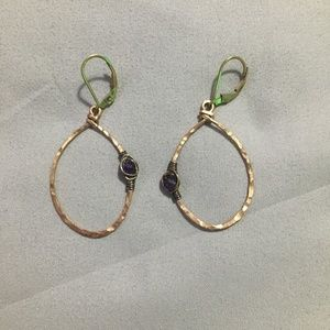 Anthropologie Gold Hoop Dangle Earrings